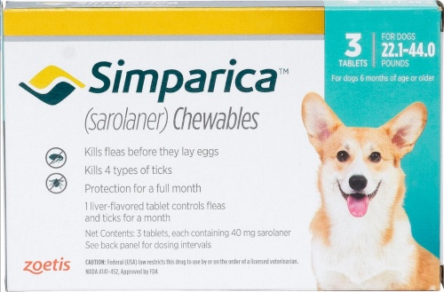 Simparica 40 mg 3 chewable tablets for dogs 22.1-44 lbs (Blue) 1
