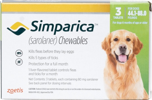 Simparica 80 mg 3 chewable tablets for dogs 44.1-88 lbs (Green) 1
