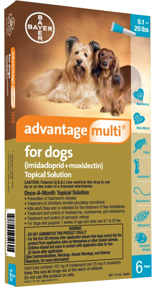 Advantage Multi for Dogs 6 doses 9.1-20 lbs (Teal) 1