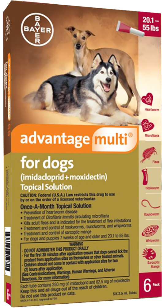 Advantage Multi for Dogs 6 doses 20.1-55 lbs (Red) 1