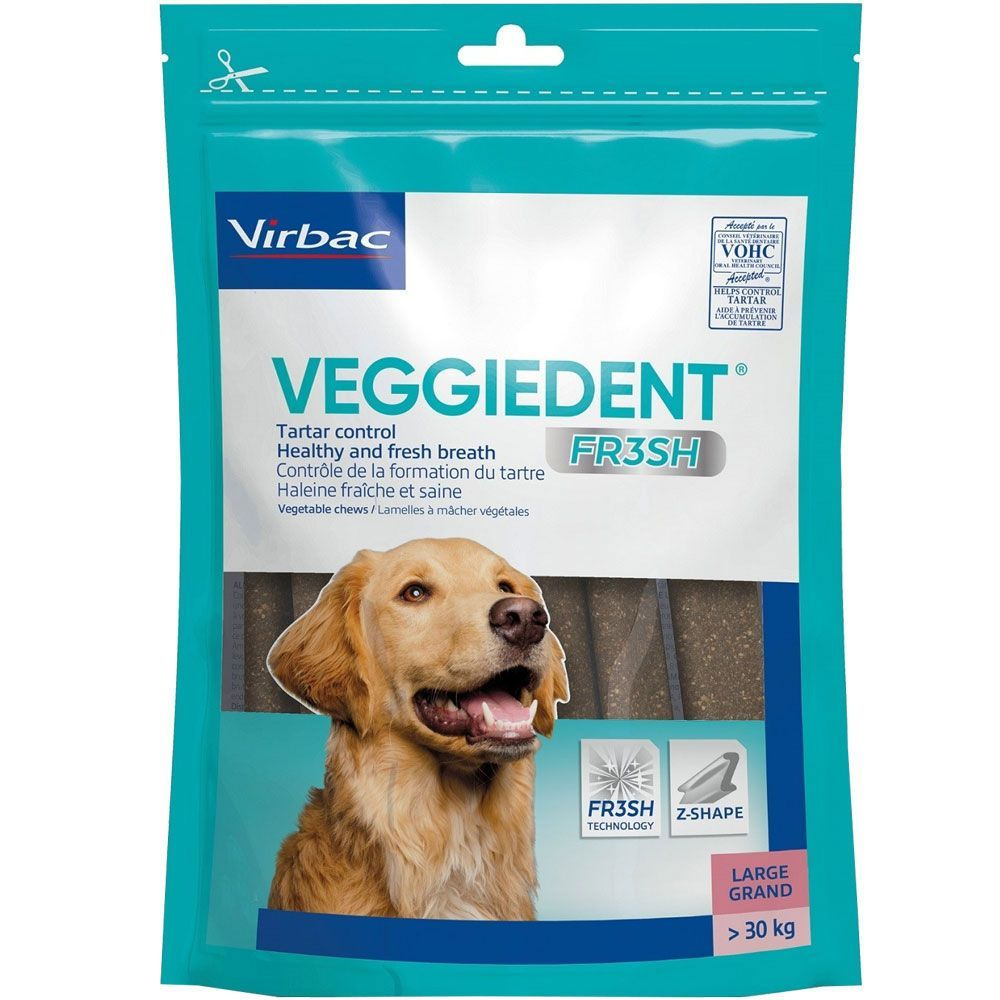 C.E.T. VeggieDent Fr3sh Tartar Control Chews for Dogs 30 chews 60 lbs and over (large dogs) 1