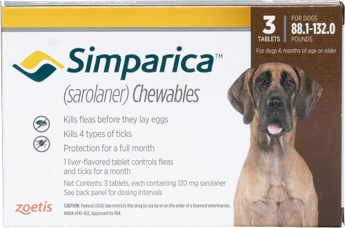 Simparica 120 mg 3 chewable tablets for dogs 88.1-132 lbs (Brown) 1