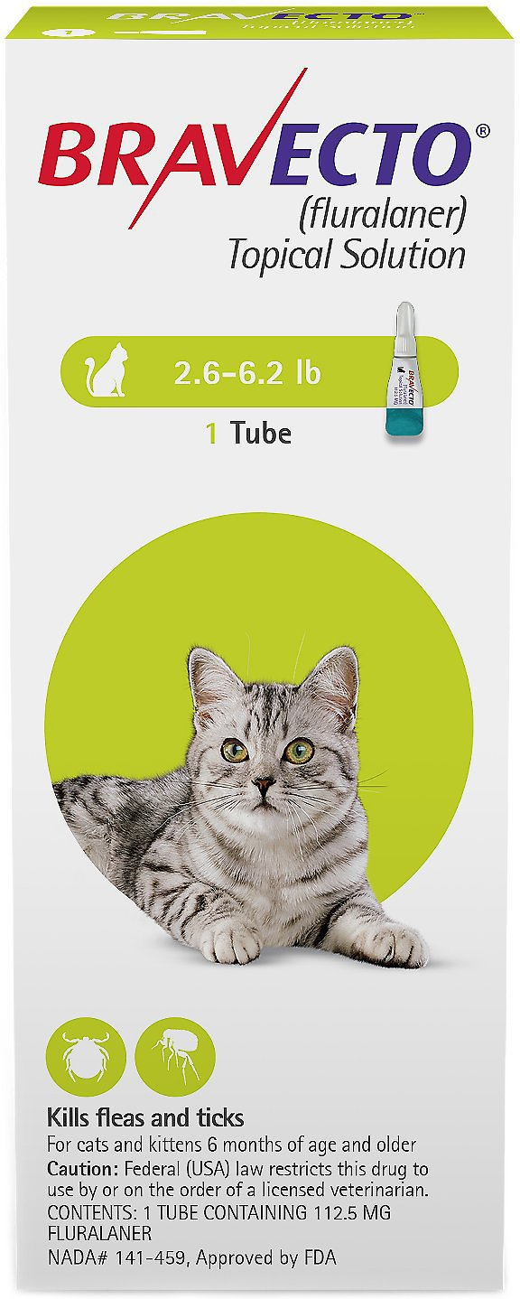 Bravecto Topical Solution for Cats 1 tube 2.6-6.2 lbs (Green) 1