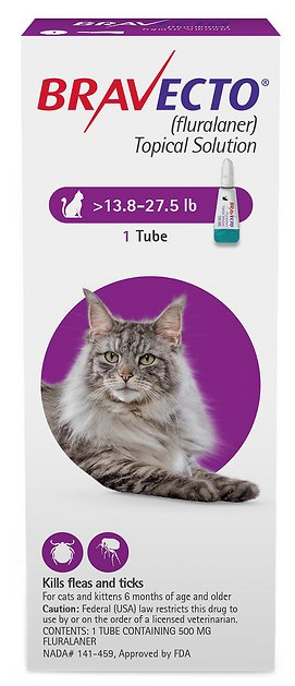 Bravecto Topical Solution for Cats 1 tube 13.8-27.5 lbs (Purple) 1