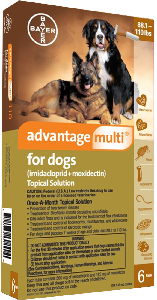 Advantage Multi for Dogs 6 doses 88.1-110 lbs (Brown) 1