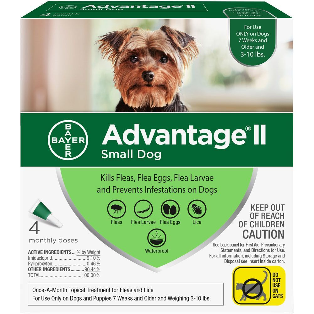 Advantage II for Dogs 4 doses 3-10 lbs (Green) 1
