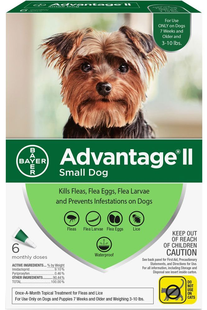 Advantage II for Dogs 6 doses 3-10 lbs (Green) 1