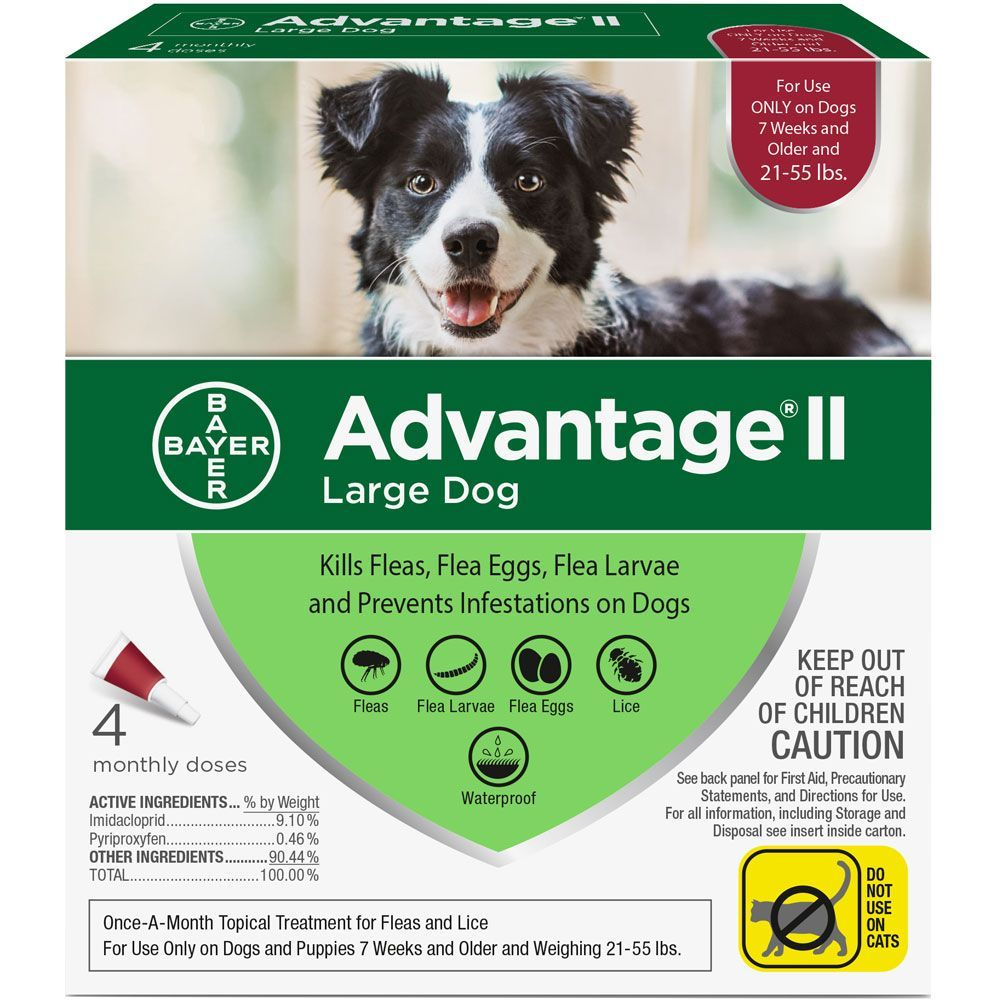 Advantage II for Dogs 4 doses 21-55 lbs (Red) 1