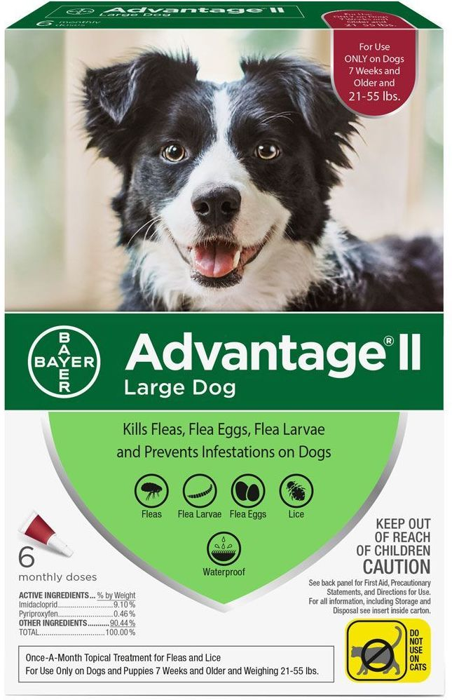 Advantage II for Dogs 6 doses 21-55 lbs (Red) 1
