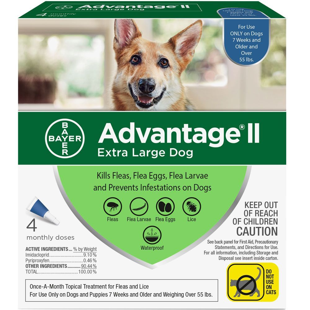 Advantage II for Dogs 4 doses over 55 lbs (Blue) 1