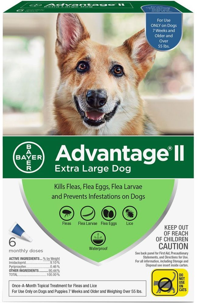 Advantage II for Dogs 6 doses over 55 lbs (Blue) 1