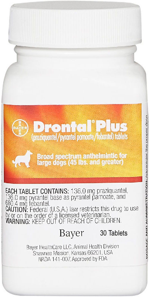 Drontal Plus 30 tablets for large dogs over 45 lbs  1