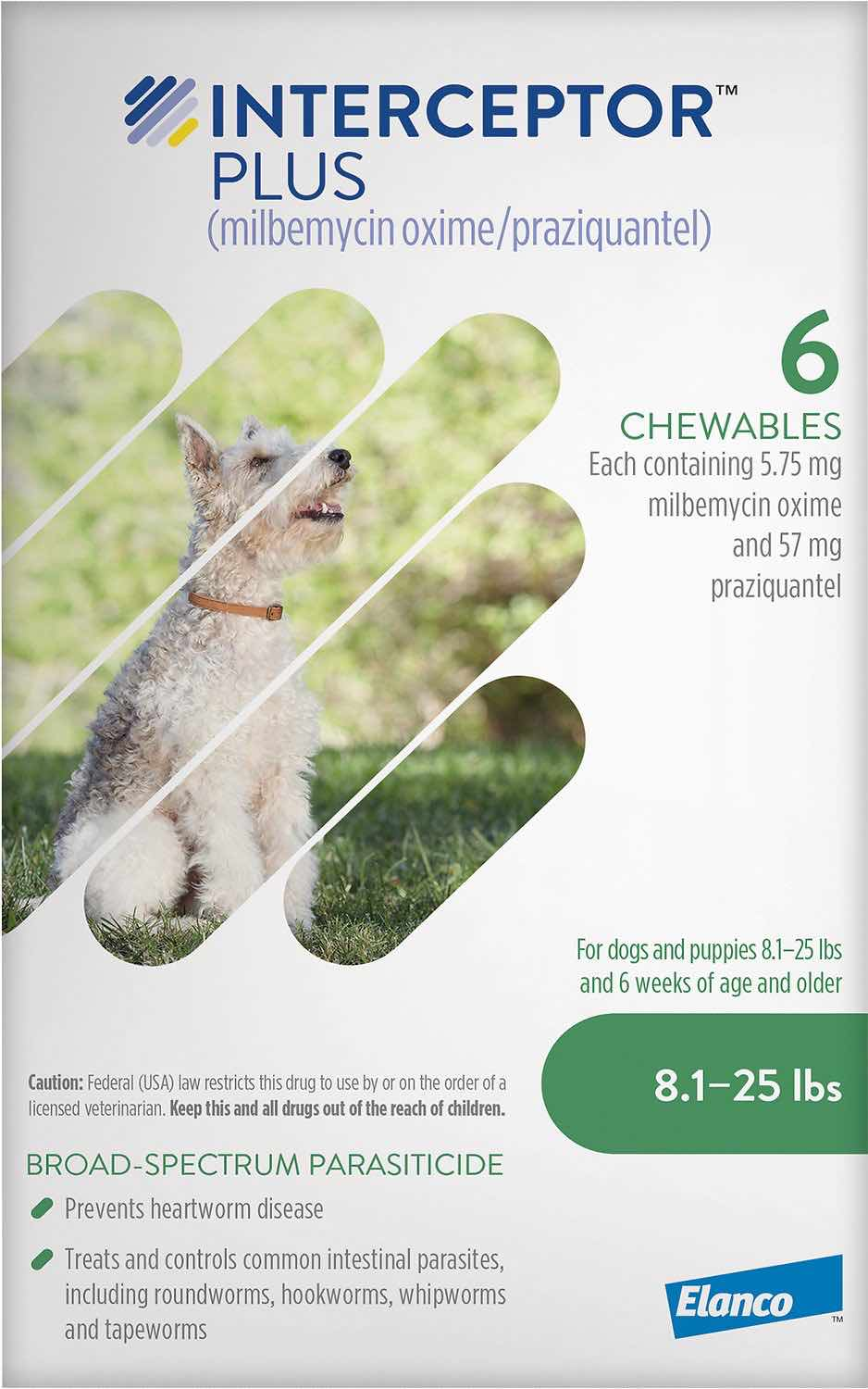 Interceptor Plus 6 chewables for dogs 8.1-25 lbs (Green) 1