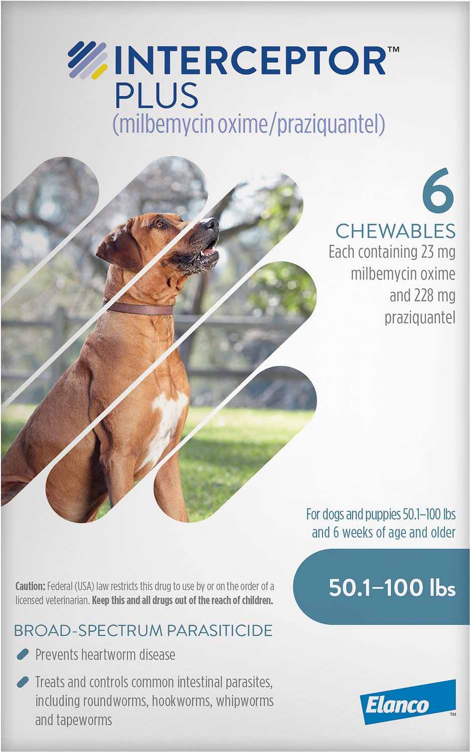 Interceptor Plus 6 chewables for dogs 50.1-100 lbs (Blue) 1
