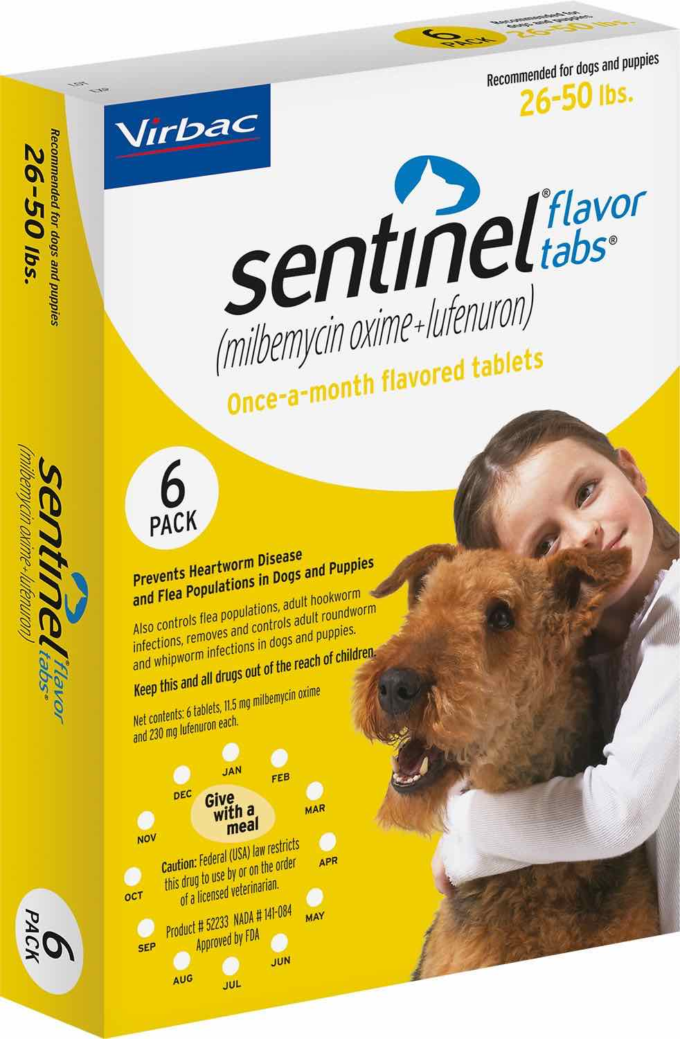 Sentinel Flavor Tabs 6 count for dogs 26-50 lbs (Yellow) 1