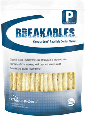 Clenz-a-dent Breakables Rawhide Chews 15 chews for petite dogs 1