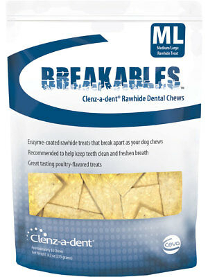 Clenz-a-dent Breakables Rawhide Chews 15 chews for medium & large dogs 1