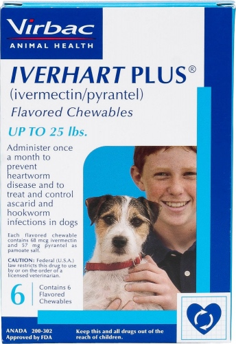 Iverhart Plus Flavored Chewables 6 count for dogs up to 25 lbs 1
