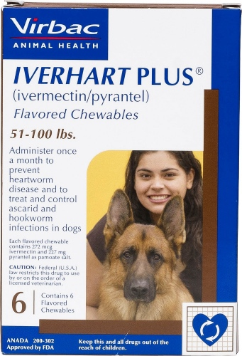 Iverhart Plus Flavored Chewables 6 count for dogs 51 to 100 lbs 1