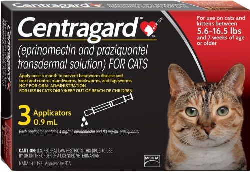 Centragard 3 applicators for cats 5.6-16.5 lbs (Red) 1
