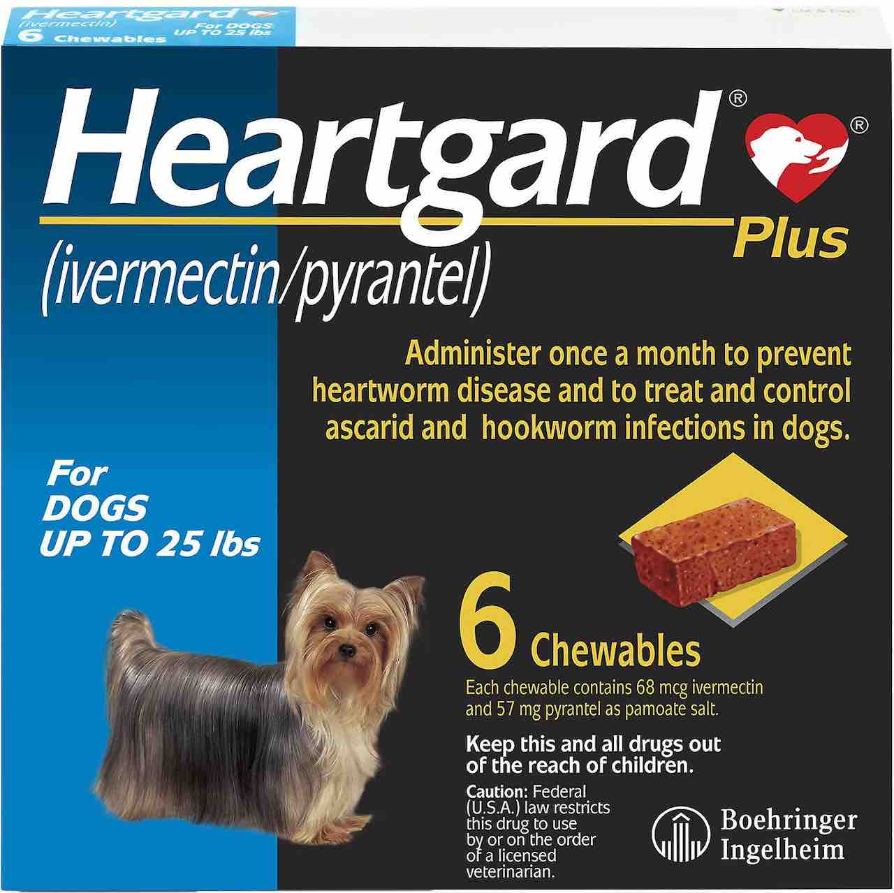 Heartgard Plus Chewables 6 doses for dogs up to 25 lbs (Blue) 1