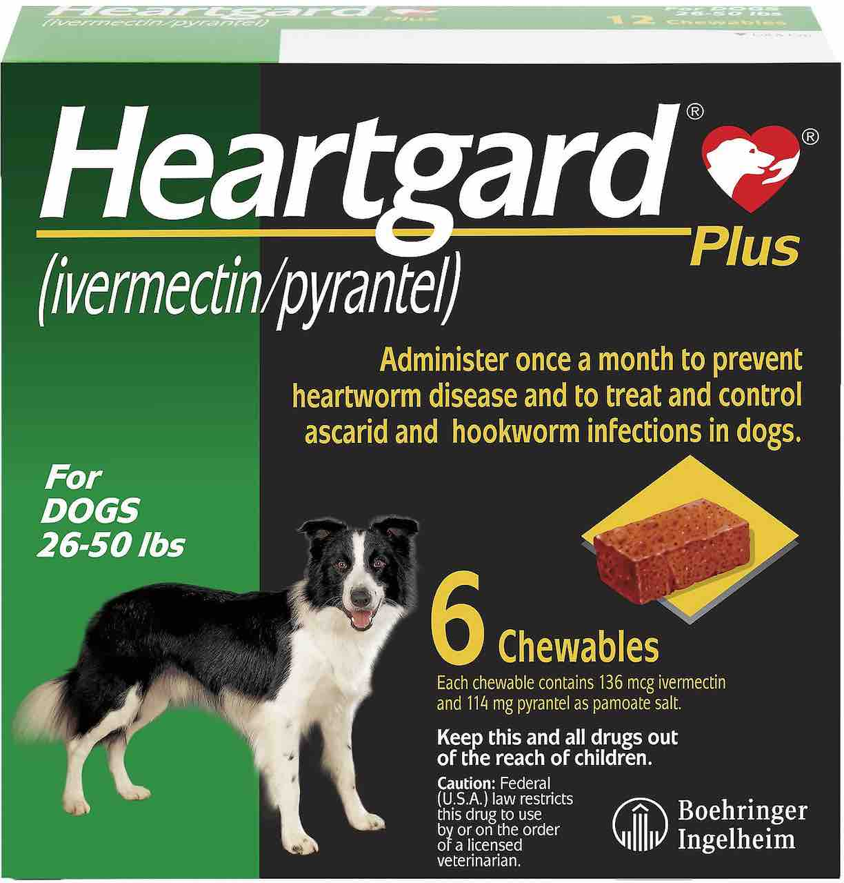 Heartgard Plus Chewables 6 doses for dogs 26-50 lbs (Green) 1