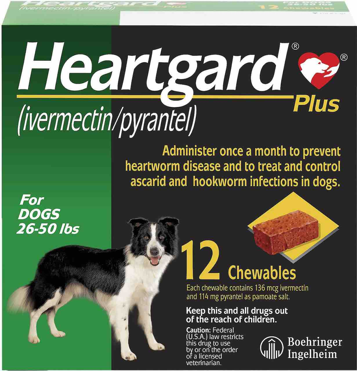 Heartgard Plus Chewables 12 doses for dogs 26-50 lbs (Green) 1