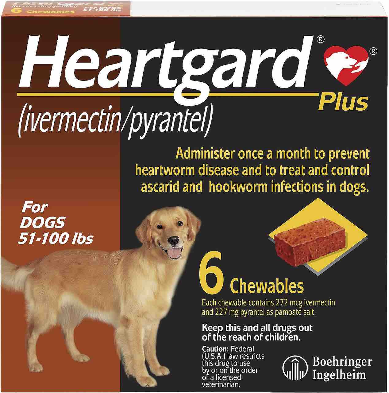 Heartgard Plus Chewables 6 doses for dogs 51-100 lbs (Brown) 1