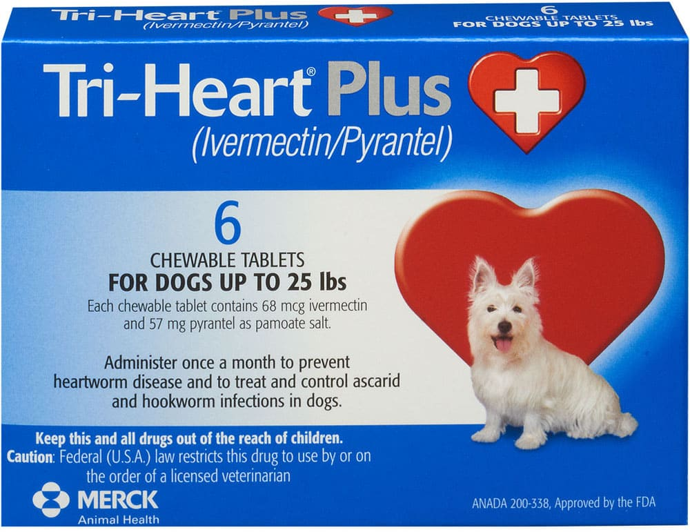 Tri-Heart Plus 6 chewable tablets for dogs 1-25 lbs (Blue) 1