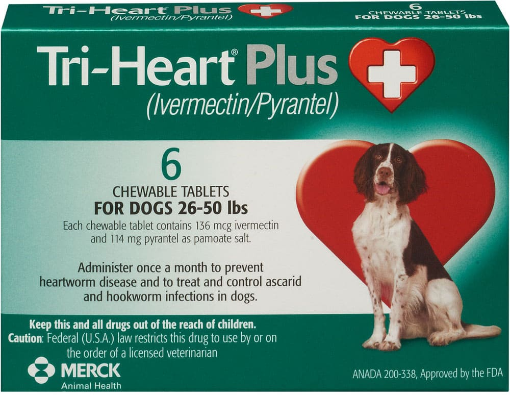 Tri-Heart Plus 6 chewable tablets for dogs 26-50 lbs (Green) 1