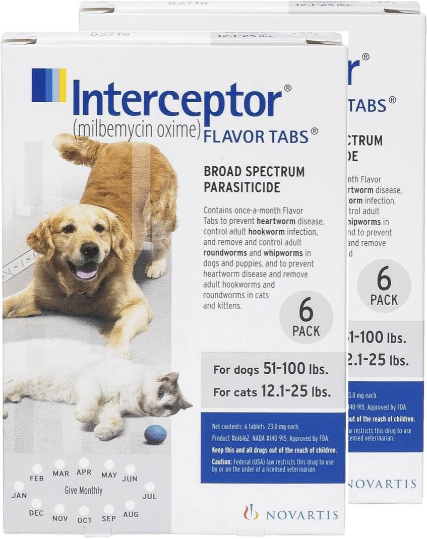 Interceptor  12 flavor tabs for cats 12.1-25 lbs & dogs 51-100 lbs (White) 1
