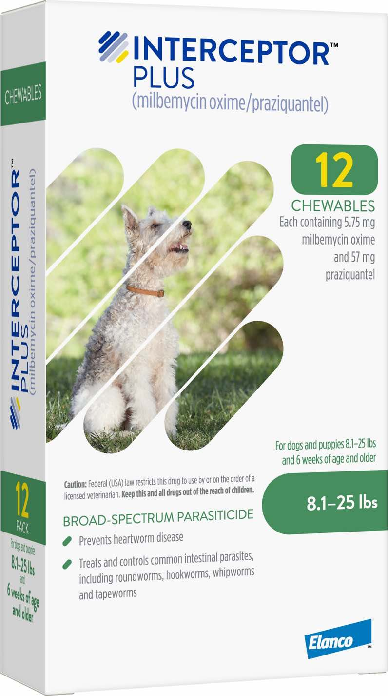 Interceptor Plus 12 chewables for dogs 8.1-25 lbs (Green) 1