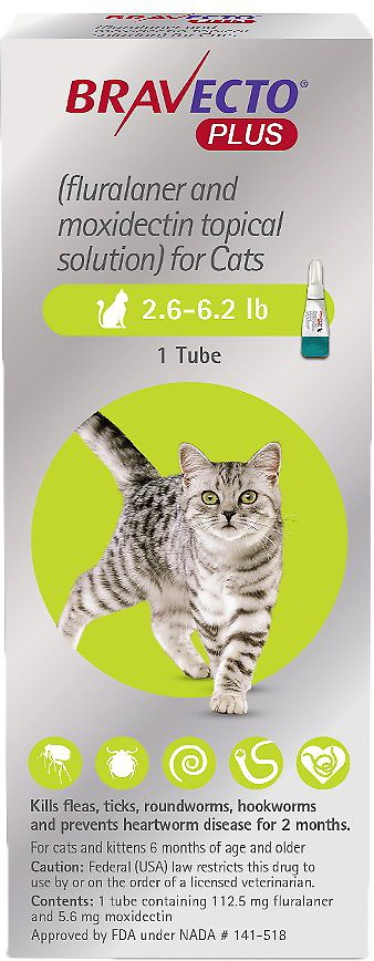 Bravecto Plus Topical Solution for Cats 1 tube 2.6-6.2 lbs (Green) 1