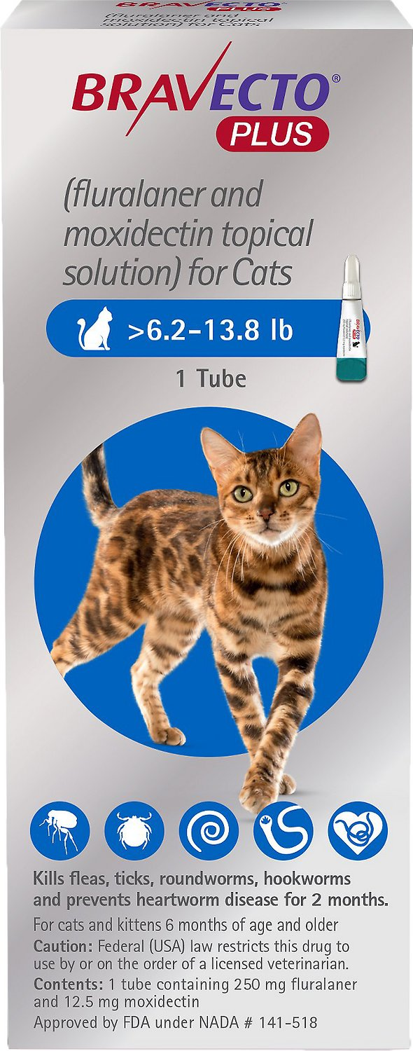 Bravecto Plus Topical Solution for Cats 1 tube 6.2-13.8 lbs (Blue) 1