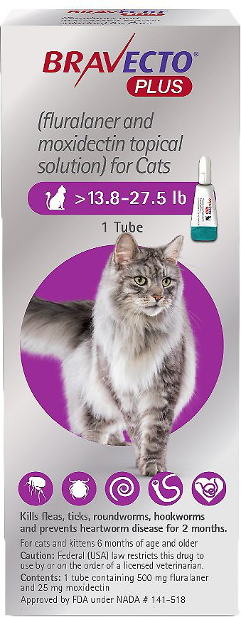Bravecto Plus Topical Solution for Cats 1 tube 13.8-27.5 lbs (Purple) 1