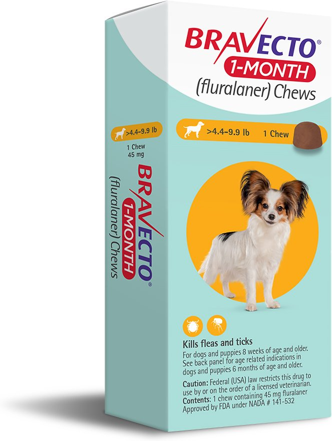 Bravecto 1-Month Chews 1 chew for dogs 4.4-9.9 lbs (Yellow) 1