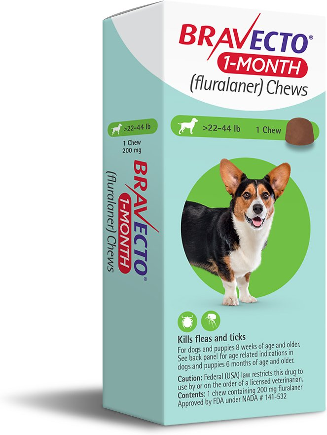 Bravecto 1-Month Chews 1 chew for dogs 22-44 lbs (Green) 1