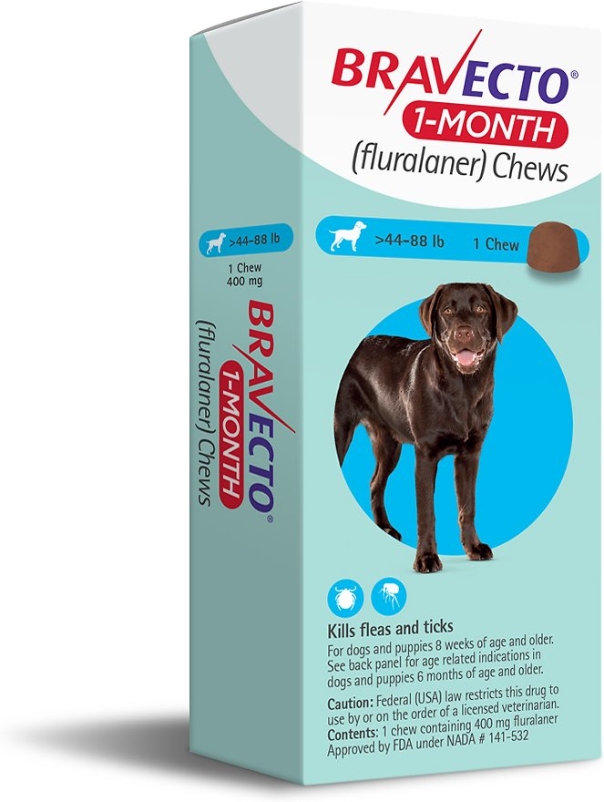 Bravecto 1-Month Chews 1 chew for dogs 44-88 lbs (Blue) 1
