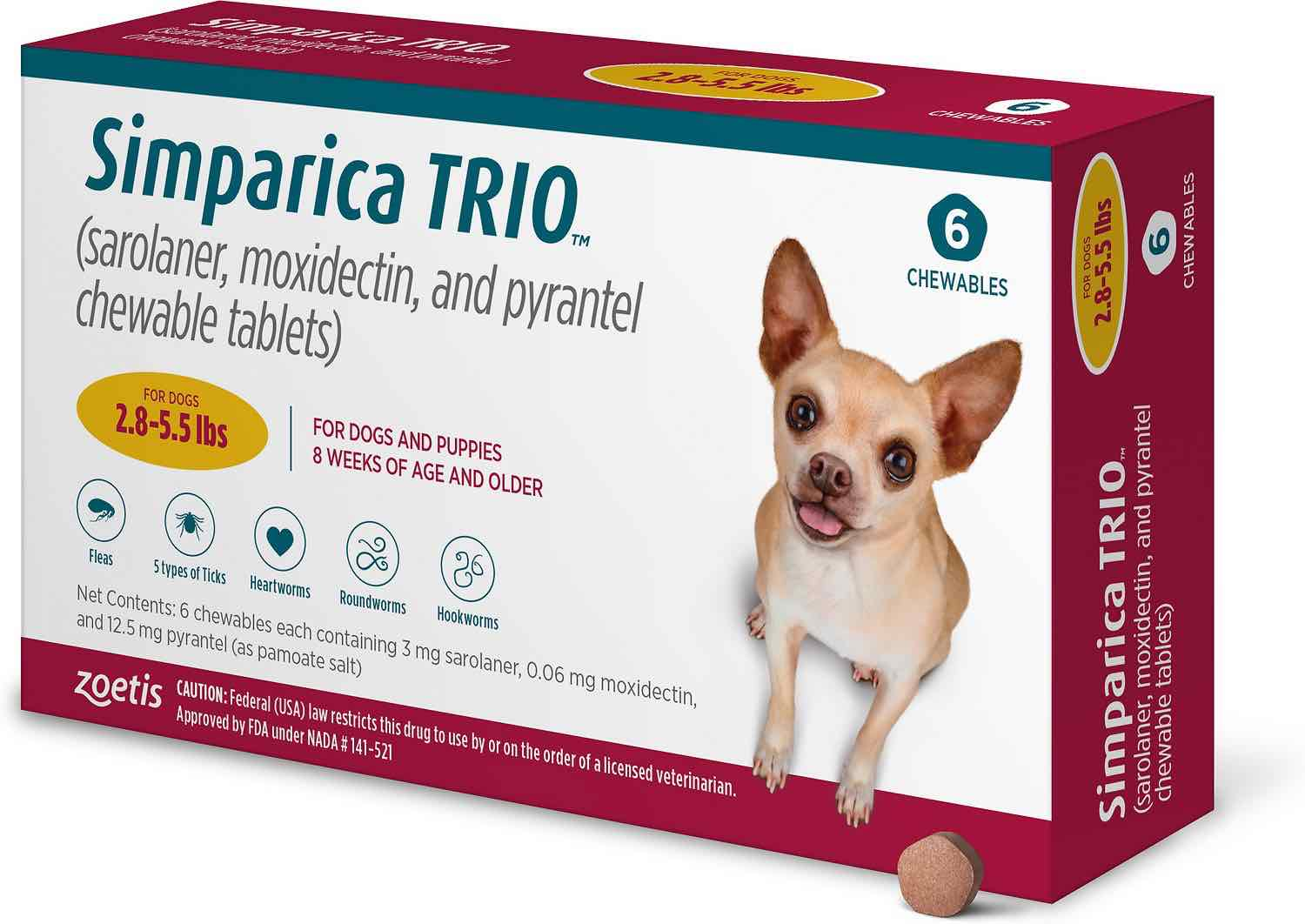 Simparica Trio 6 chewables for dogs 2.8-5.5 lbs (Gold) 1