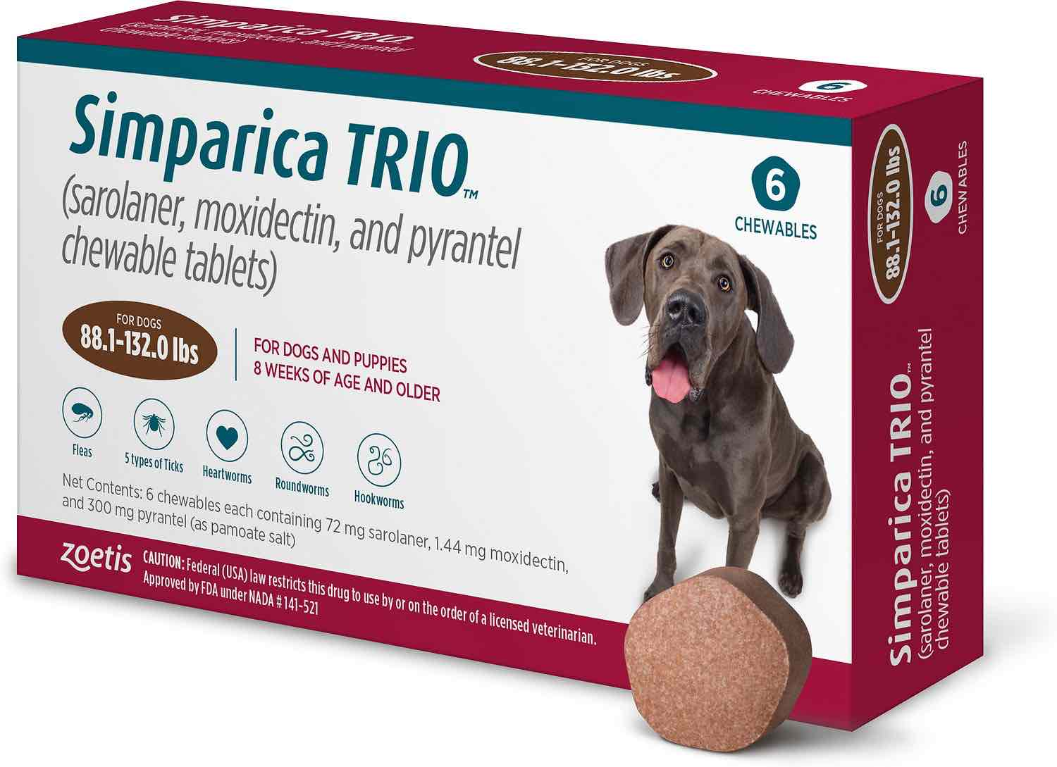 Simparica Trio 6 chewables for dogs 88.1-132 lbs (Brown) 1