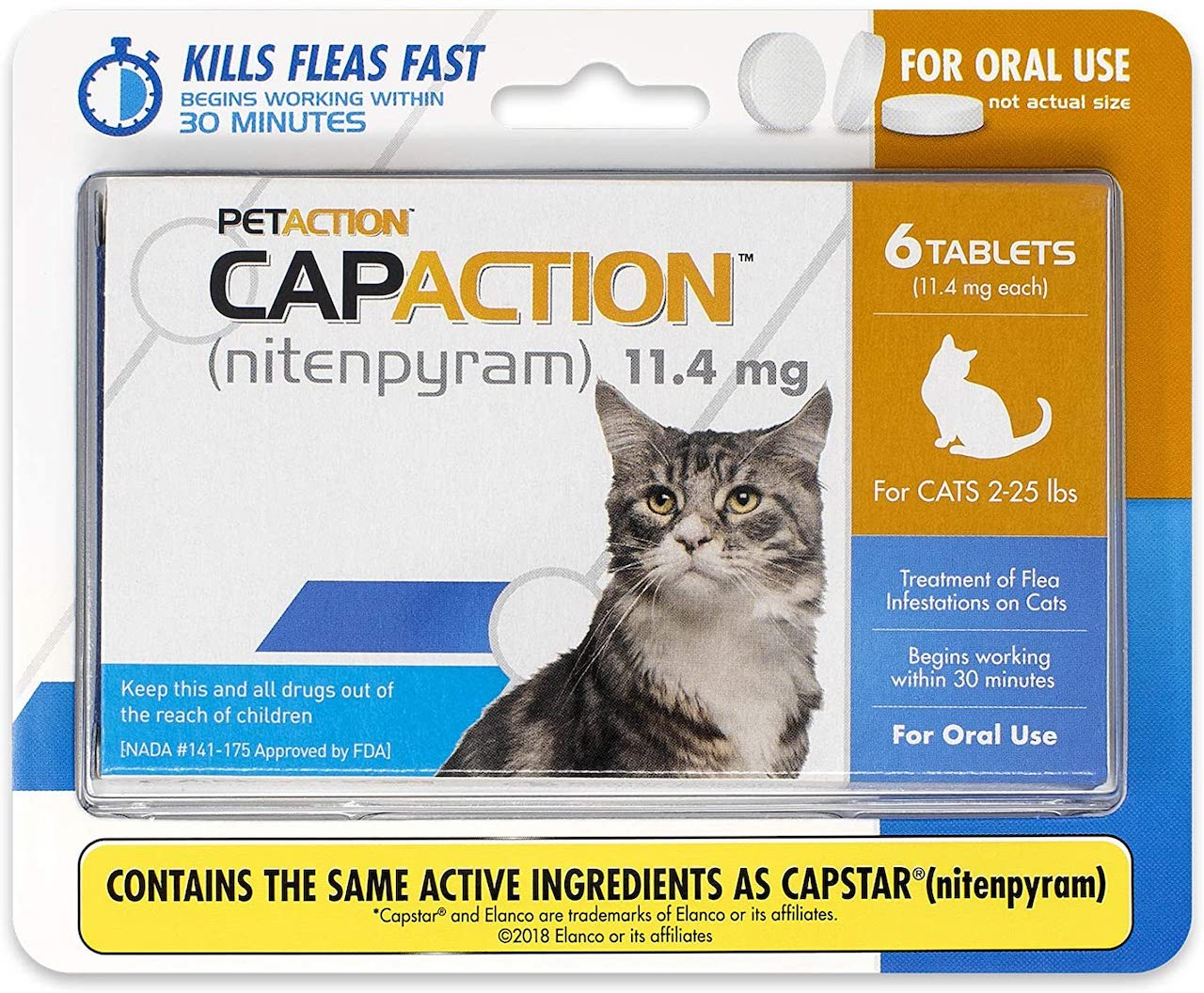 CapAction 6 tablets for cats 2-25 lbs 1