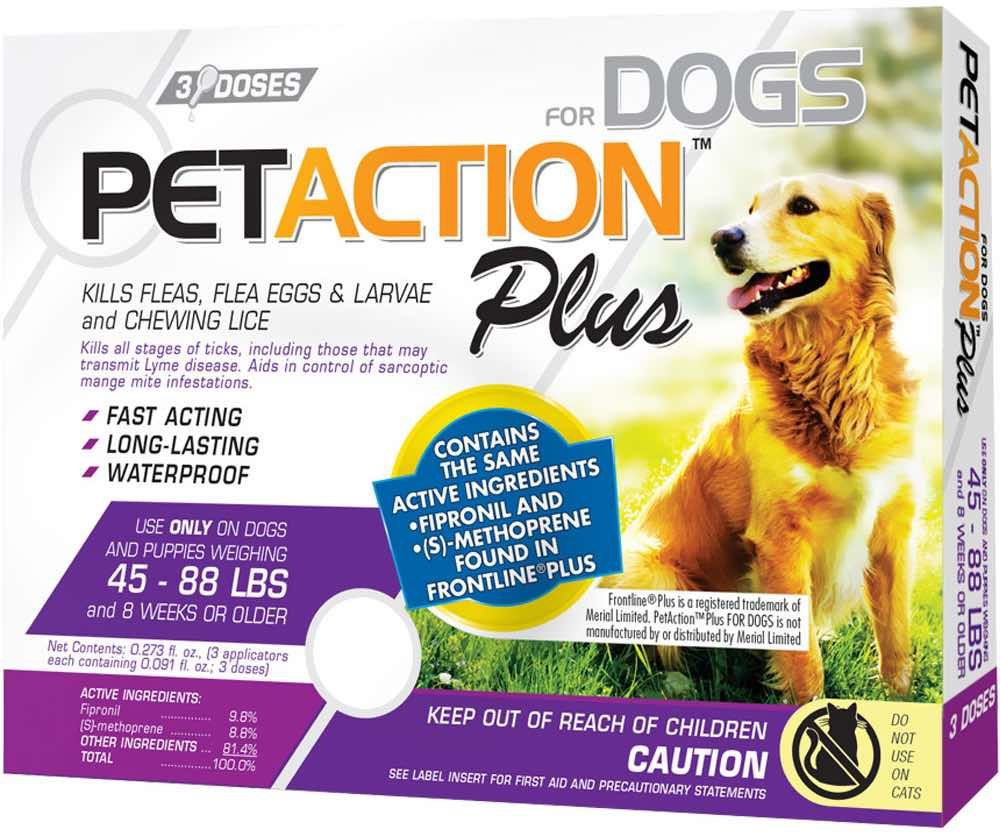 PetAction Plus for Dogs 3 doses 45-88 lbs (Purple) 1