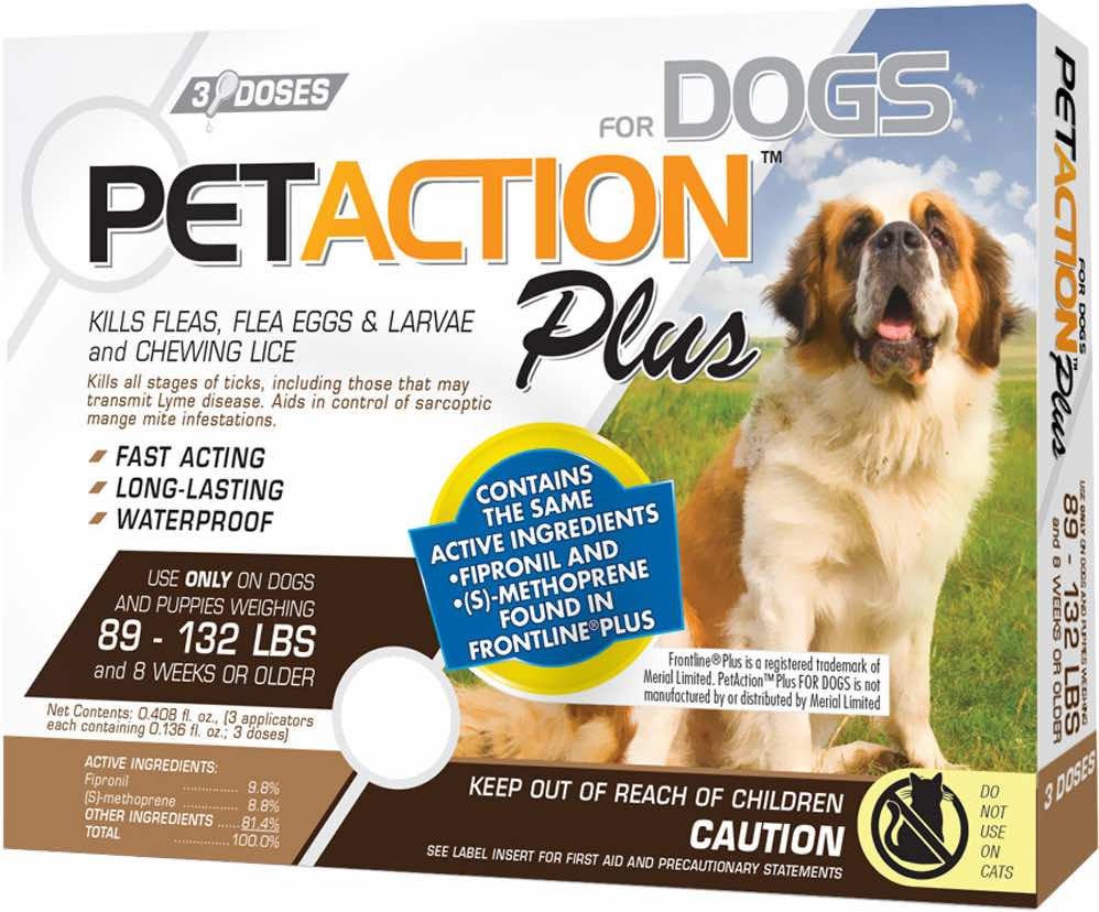 PetAction Plus for Dogs 3 doses 89-132 lbs (Brown) 1
