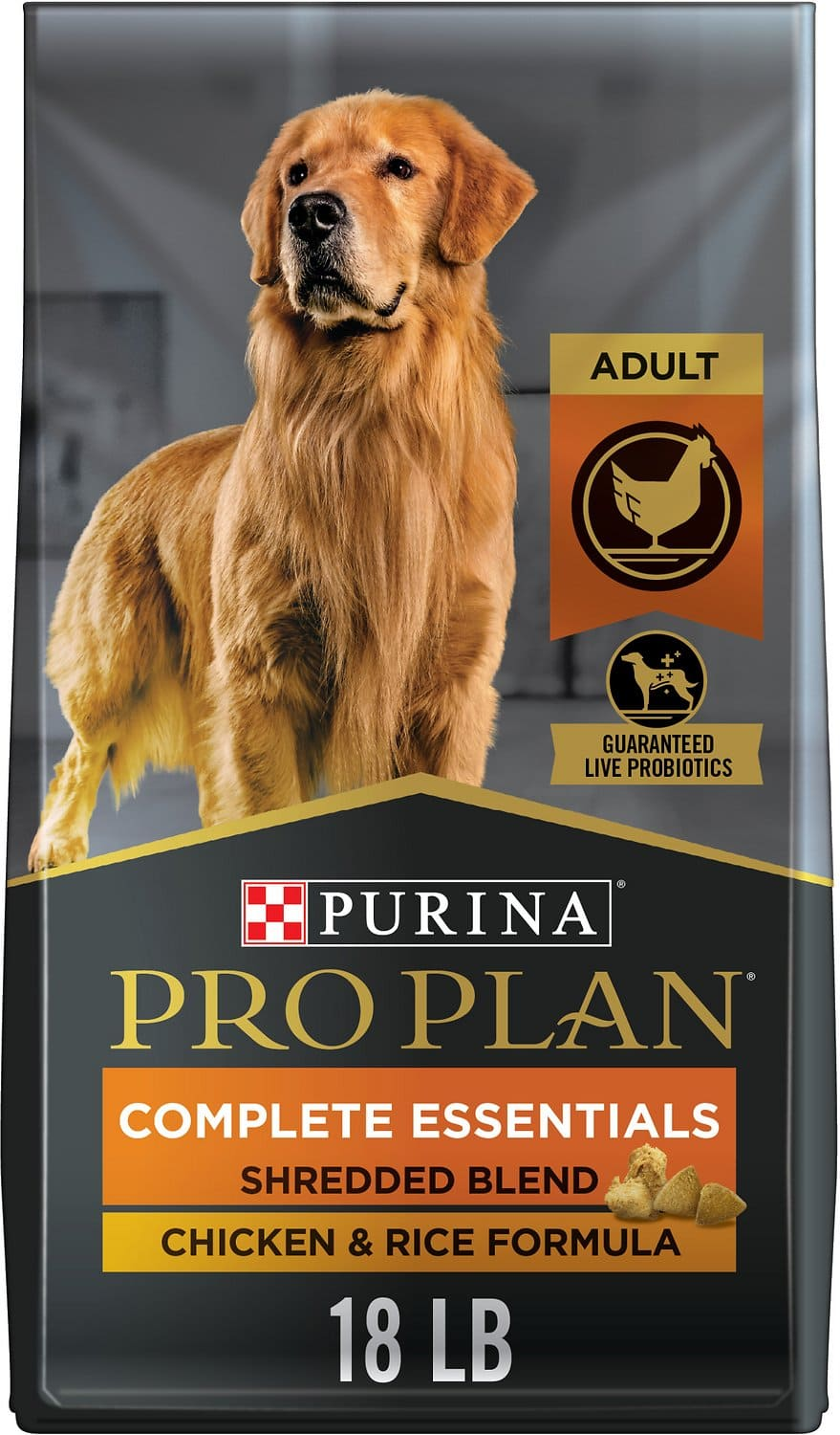 Purina Pro Plan Adult Complete Essentials Shredded Blend Formula for Dogs 18 lbs Chicken & Rice 1