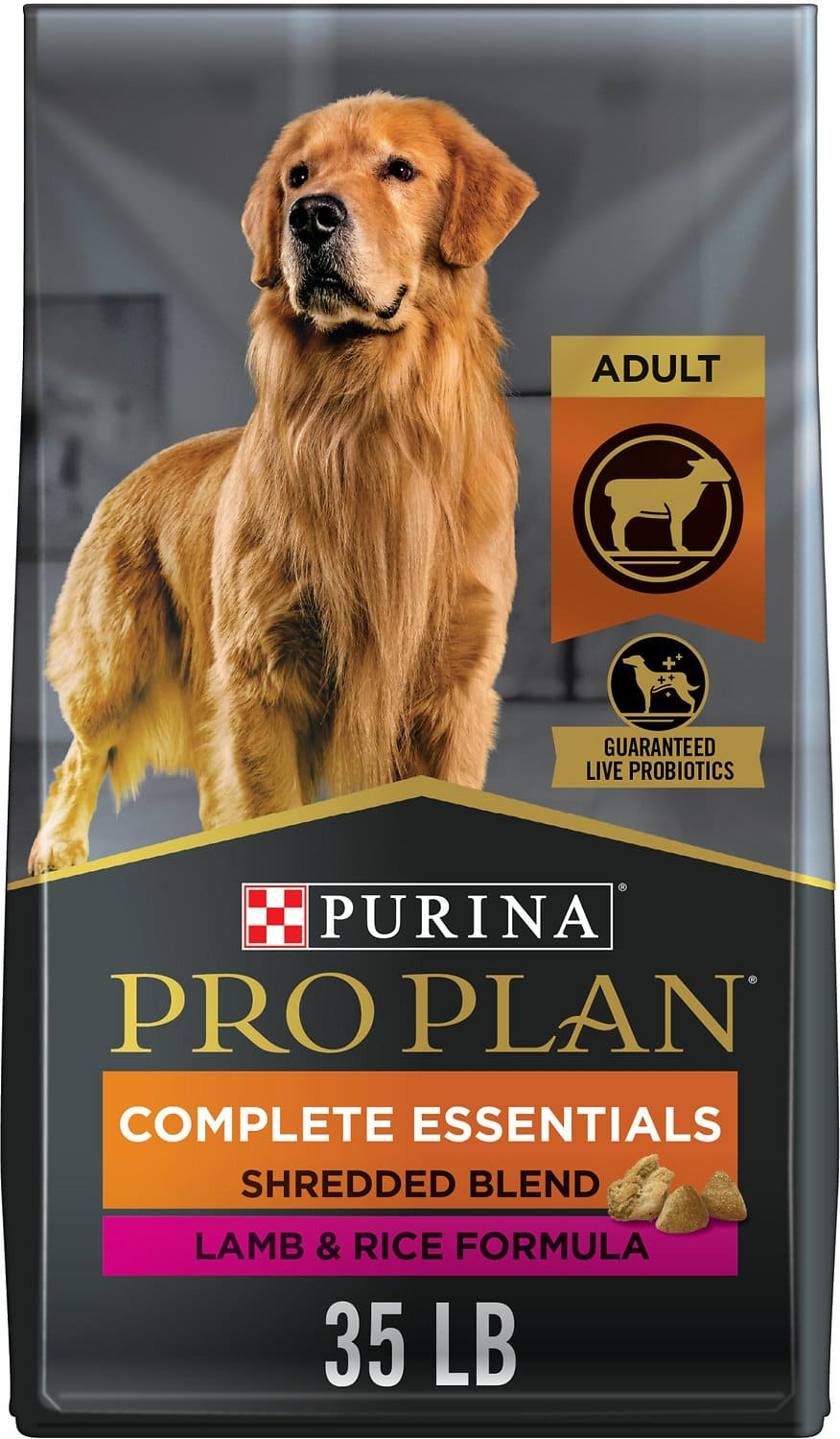 Purina Pro Plan Adult Complete Essentials Shredded Blend Formula for Dogs 35 lbs Lamb & Rice 1