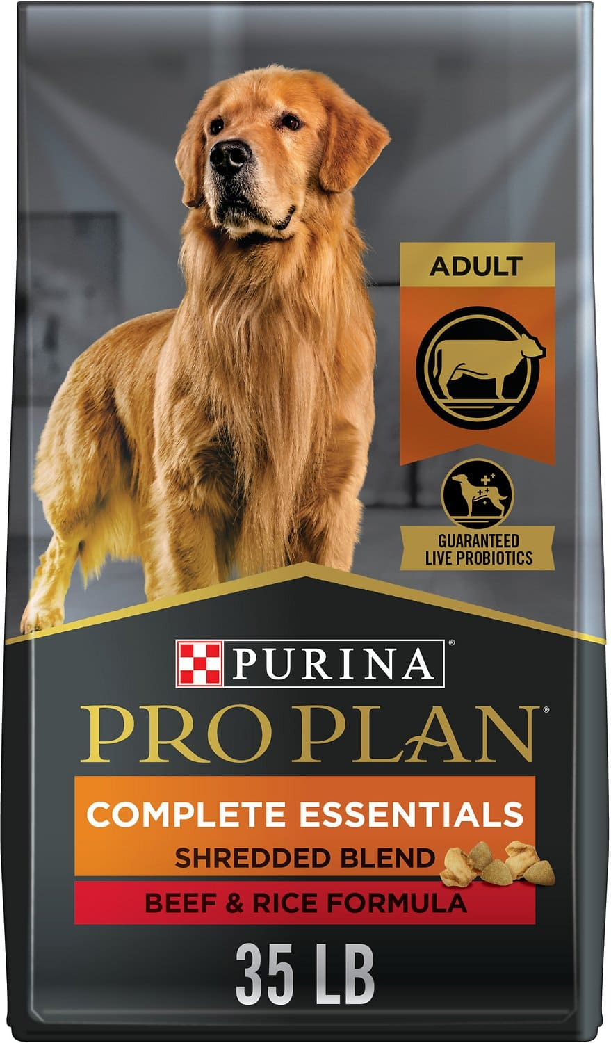 Purina Pro Plan Adult Complete Essentials Shredded Blend Formula for Dogs 35 lbs Beef & Rice 1