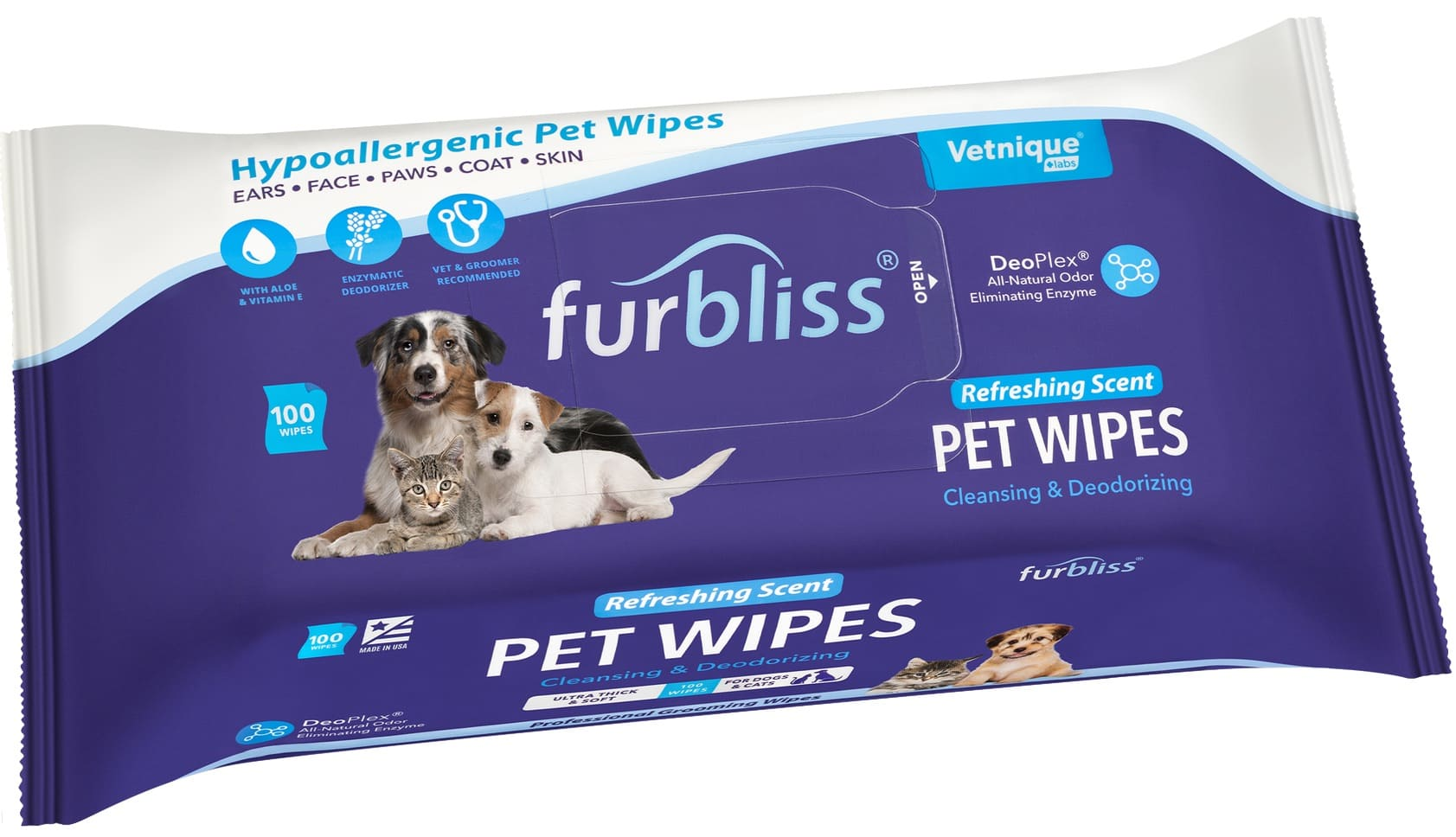 Furbliss Hygienic Grooming Pet Wipes 100 count (Single) Refreshing 1