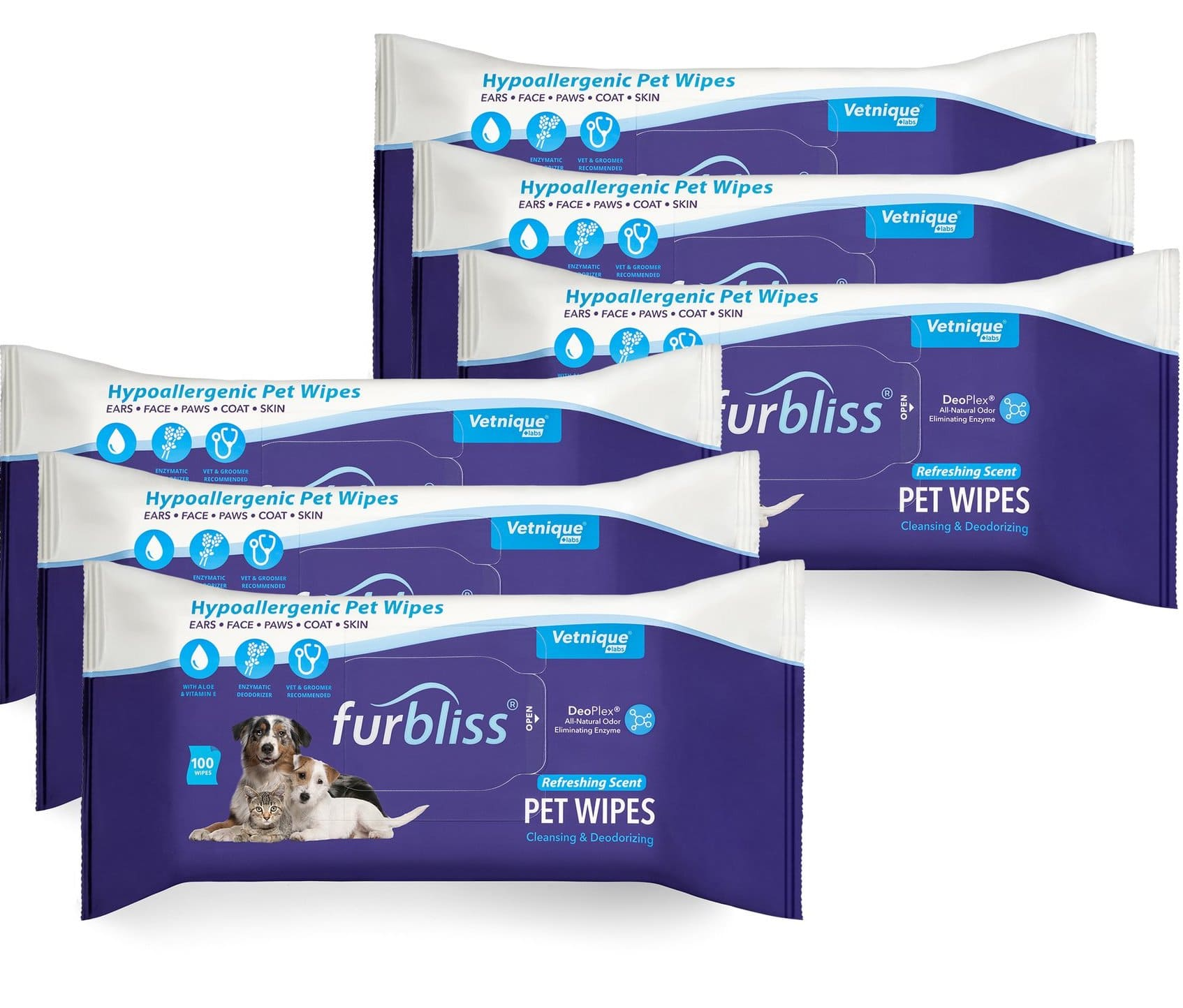 Furbliss Hygienic Grooming Pet Wipes 100 count (6 Pack) Refreshing 1