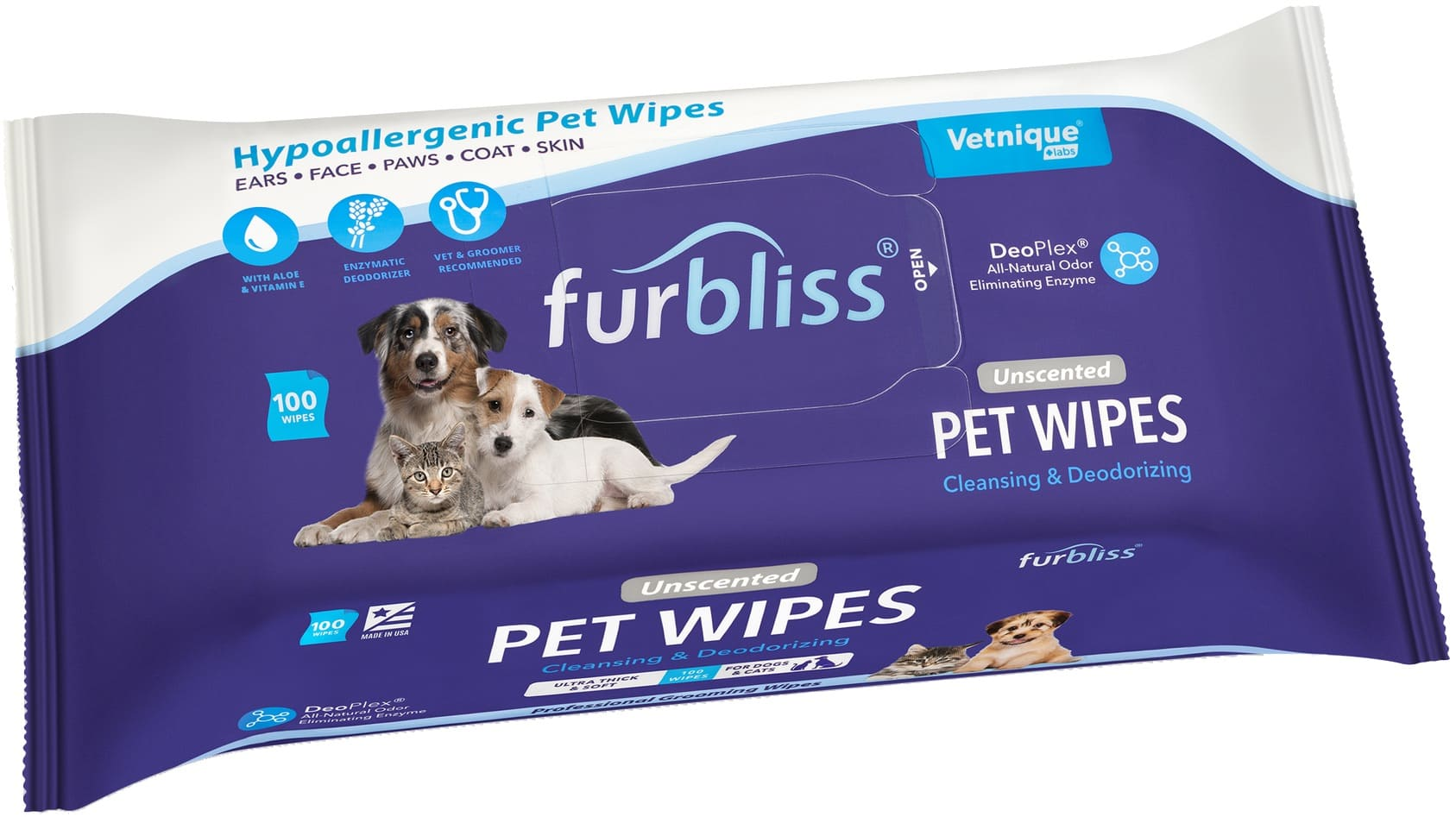 Furbliss Hygienic Grooming Pet Wipes 100 count (Single) Unscented 1