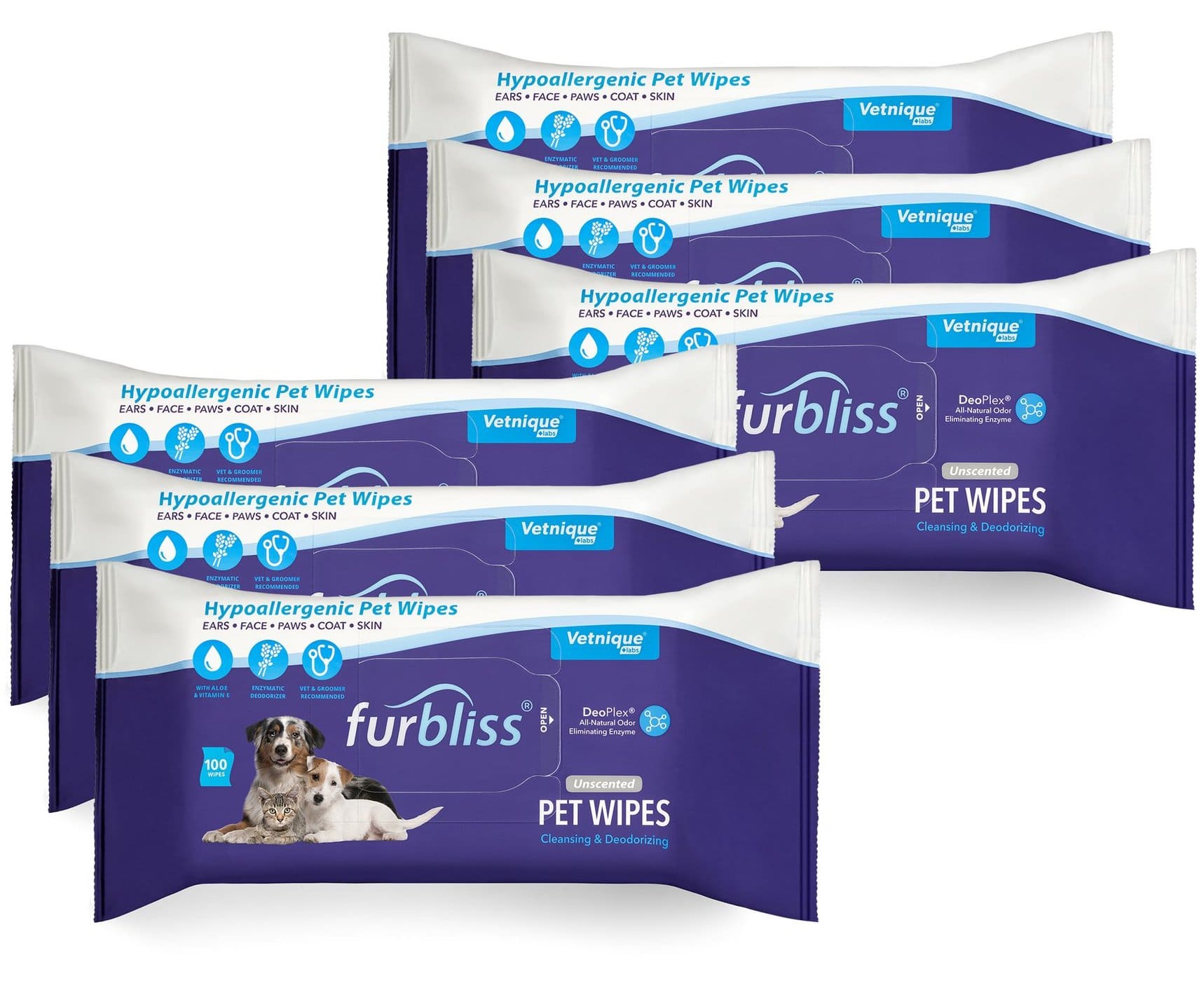 Furbliss Hygienic Grooming Pet Wipes 100 count (6 Pack) Unscented 1